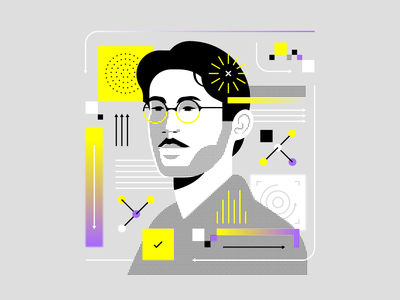 🟡🟣 illustrator data vector technology portrait