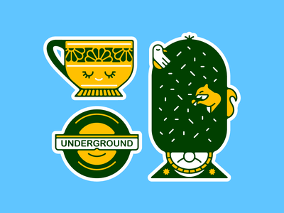 Welcome to London tea queens guard illustration vacation travel character design stickers london
