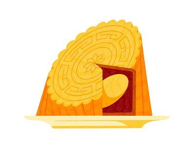 🥮 food procreate illustration moon cake mid-autumn festival