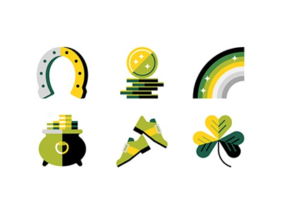 ✨☘️✨ rainbow clover gold illustration icon st patricks day