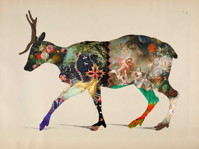 Reindeer Collage Silhouette