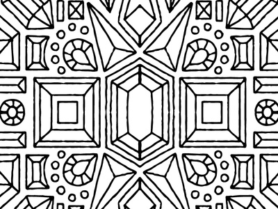 Adult coloring gem linework