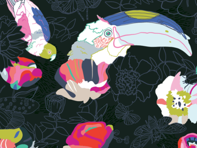 Botanical pattern with toucan