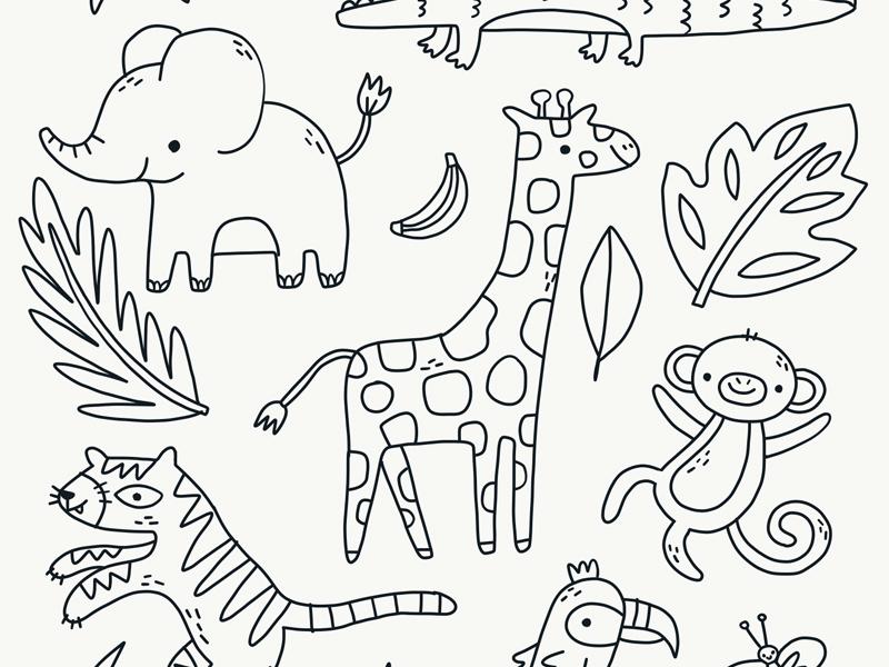 Cute Jungle Doodles banana leaves crocodile elephant monkey tiger line work vector drawing illustration doodle giraffe