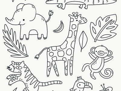 Cute Jungle Doodles