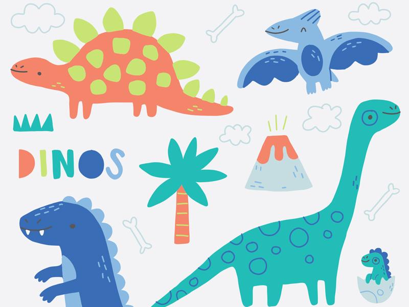 Dinosaur Doodles volcano cute t-rex dinosaurs pterodactyl drawings illustration doodles