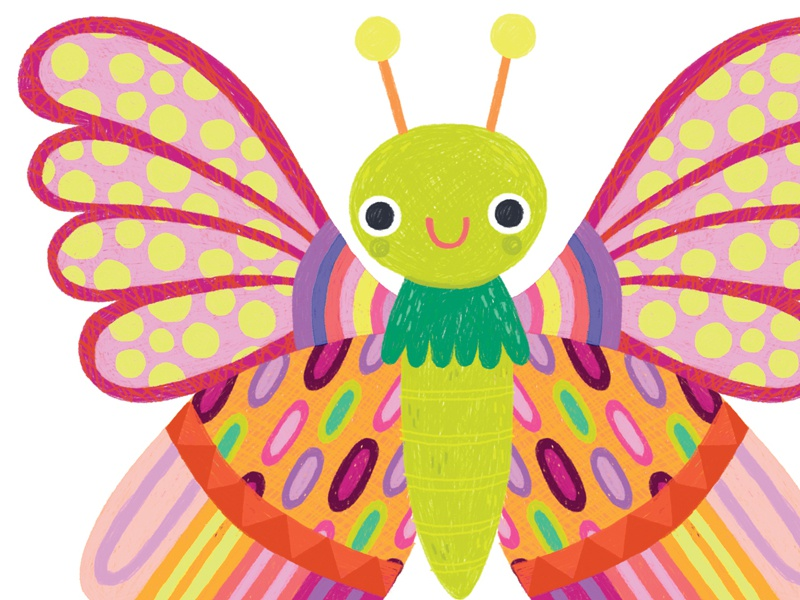 Cute Butterfly Illustration colored pencil drawing childrens book art illustration cute pattern butterfly
