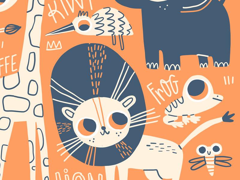 Cute Safari Poster art licensing childrens art kiwi vector hand lettering illustration cute snake giraffe frog elephant lion