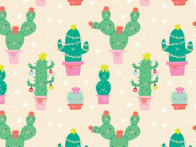Christmas Cactus Pattern pattern design pattern cute holiday christmas cactus illustration licensing art licensing