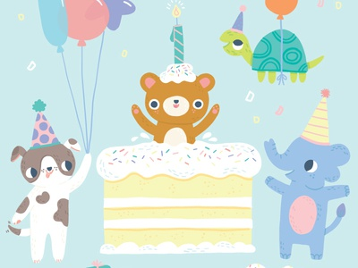 It's A Party! birthday cake puppy balloons turtle elephant bear party greeting card kid art childrens art cute art licensing illustration