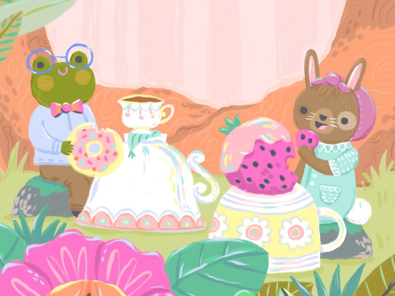 Frog and Bunny flowers teacup tea woods cute pastel bunny rabbit character design frog illustration