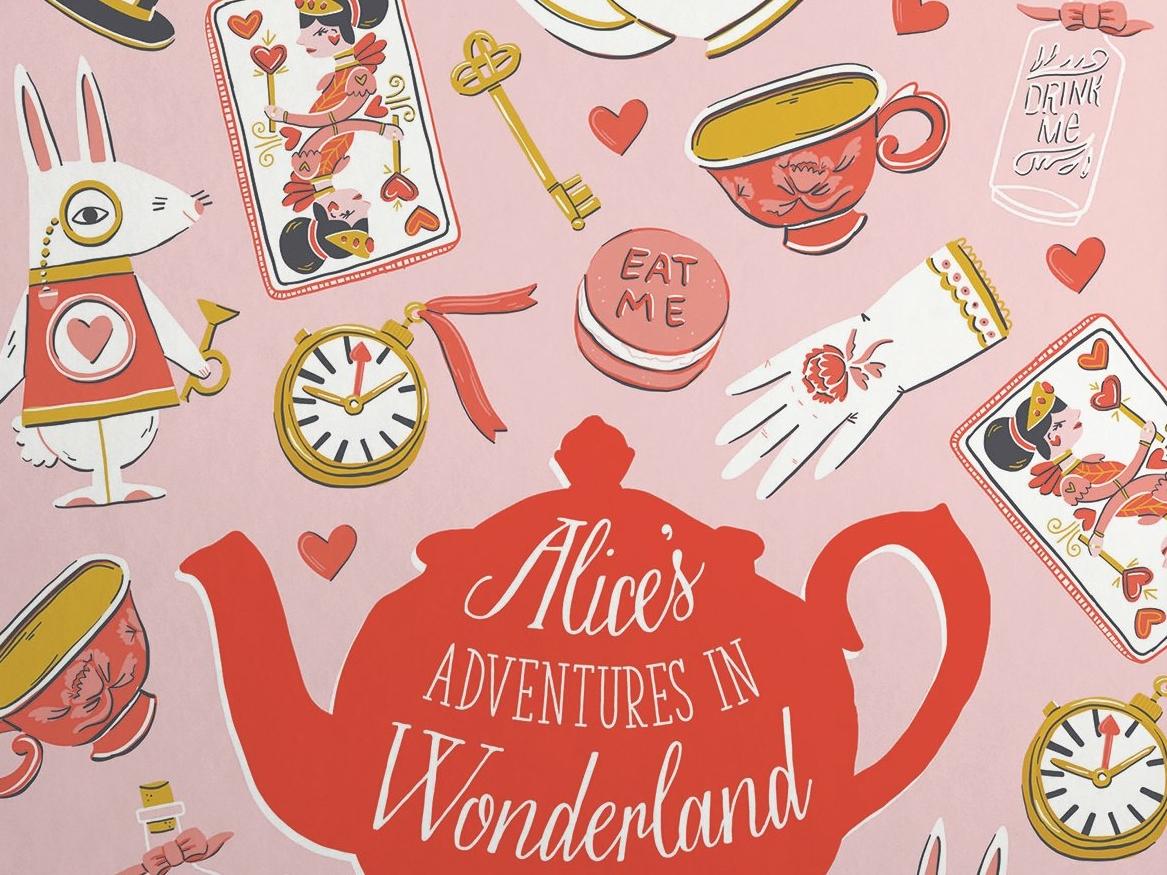 Alice's Adventures in Wonderland Cover Illustration book cover book design book tea pot key hearts tea vector rabbit alice in wonderland art typography surface cute pattern design drawing illustration