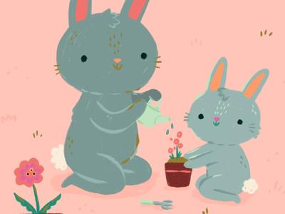 Bunny family ipad art procreate flowers art licensing greeting card bunny gardening garden licensing cute illustration rabbit