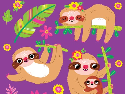 Cute Sloth Icons & Pattern for Crocodile Creek