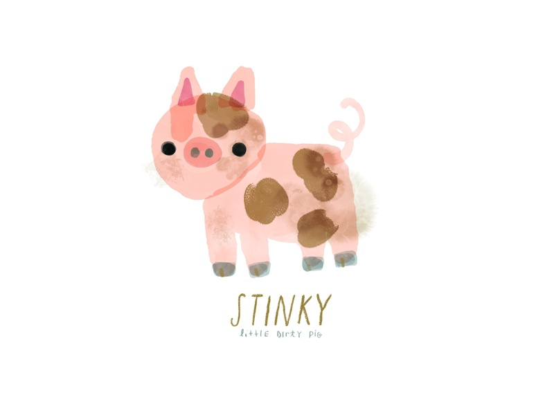 Stinky Pig Illustration piglet pink dirt mud art digital watercolor animal pig cute drawing illustration