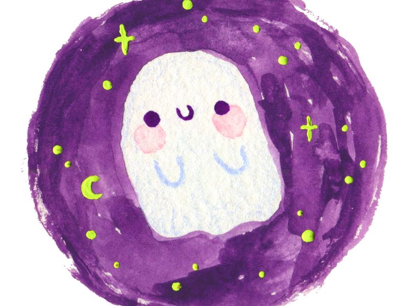 Cute Little Ghost design watercolor art watercolor painting kawaii cute illustration drawing halloween ghost watercolor