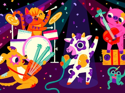 Farm Band concert drums guitar cute frogs cow dog music band frog cat farm pig vector drawing design illustration