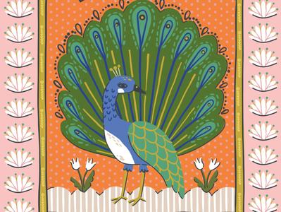 Hallmark Peacock Card Illustration