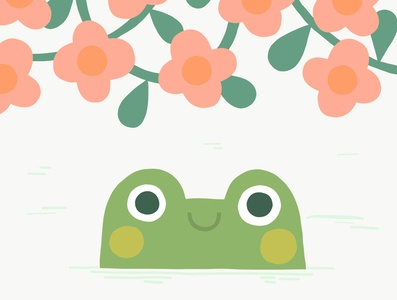 Frog in Flowers Illustration