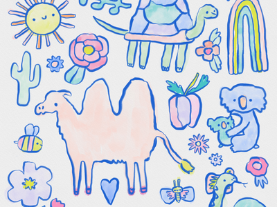 Animals and Rainbows illustration cactus sun turtle bee butterfly flowers art licensing snake drawing sketch illustration cute rainbow camel koala