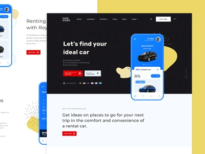 Rent a Car Service Landing Page design minimal modern responsove illustration business vehicle automotive car rent rent a car page landing wesbite theme wordpress