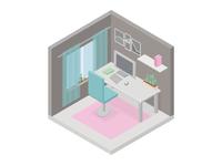 Teenager room. Isometry