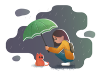 Girl and kitten in the rain