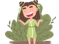 illustration girl on nature