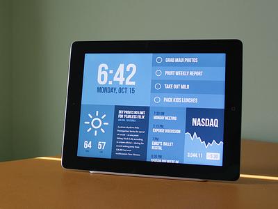 Morning morning time to-do weather news calendar stocks editable blue