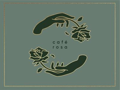 𝕔𝕒𝕗𝕖 𝕣𝕠𝕤𝕒 flower petal delicate spanish coffee shop coffee girly flowers circular foil gold vintage circle logo branding logo flower logo flower rose rosa café cafe