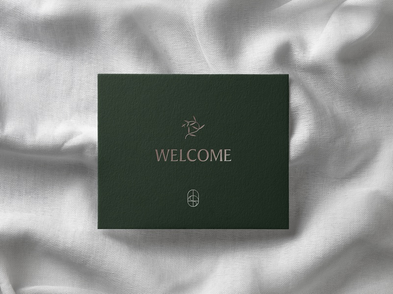 𝕠𝕒𝕤𝕚𝕤 𝕨𝕖𝕝𝕔𝕠𝕞𝕖 𝕔𝕒𝕣𝕕 green branding concept nyc new york minimal embossed paper bedroom bed branding agency illustration typography mockup logo design brand identity brand design branding logo card welcome