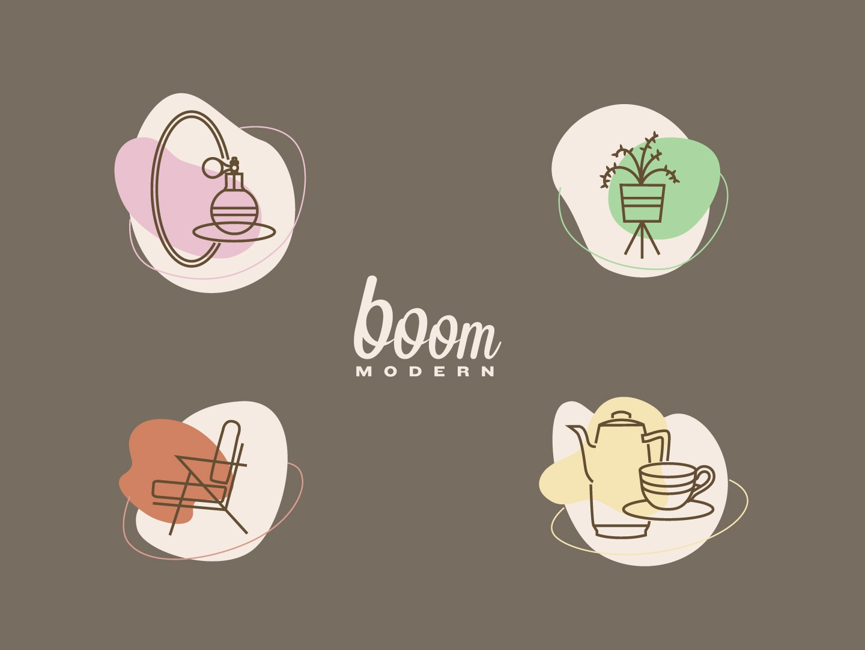 𝕓𝕠𝕠𝕞 𝕞𝕠𝕕𝕖𝕣𝕟 𝕚𝕔𝕠𝕟𝕤 kitchen script type vector art furniture store furniture beauty illustrations brown icon set graphic design logodesign icon design modern typography logotype branding logo icons midcentury mid century modern