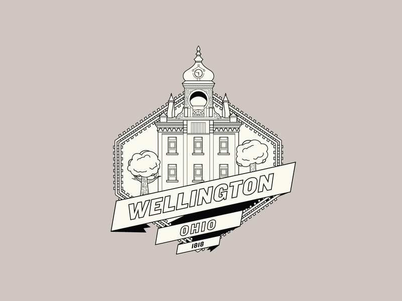 𝕙𝕠𝕞𝕖𝕥𝕠𝕨𝕟 brand design architecture ohio state building dribbleartist dribbble vintage cream illustration ribbon vector logo shield ohio hometown shot weekly challenge weekly warm-up