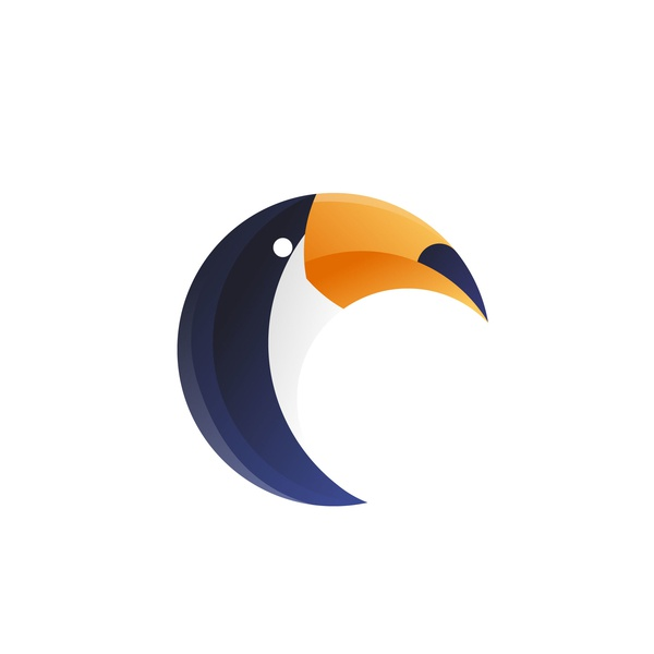 Toucan Bird concept flat logo icon branding modern logo design vector logo 3d graphic design gradient color illustration design
