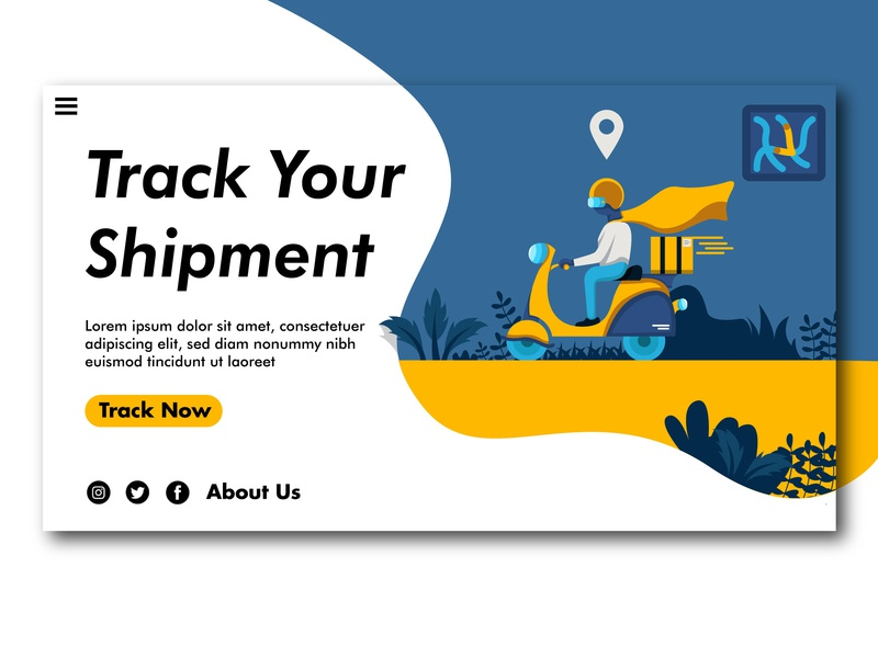 Track Your Shipment ux ui flat vector landing page concept illustration design