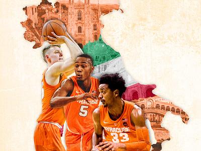Syracuse University Basketball in Italy photoshop photoillustration