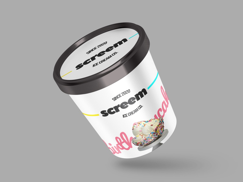 Screem Ice Cream company logo company icecream birthdaycake packaging dribbbleweeklywarmup branding concept brand design branding