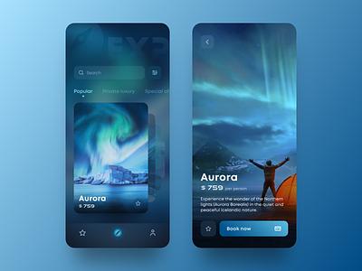 EXP Travel App ios gradient dark mode dark ui interface booking journey trip travel clean mobile app app design