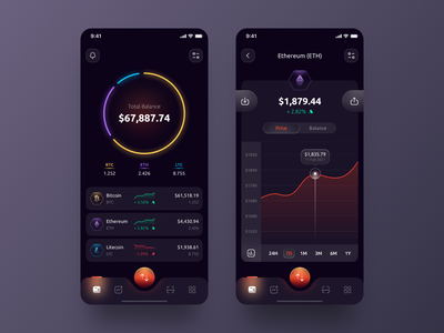 Cryptocurrency Wallet App inspiration mobile app design mobile ui frosted glass glass effect glassmorphism dark theme dark mode bitcoin ethereum cryptocurrency crypto wallet