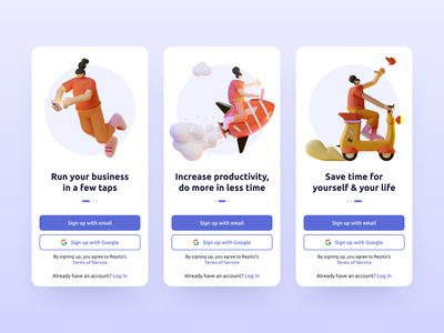 Repito App Onboarding app interface inspiration ui  ux mobile app design clean 3d illustration 3d onboarding screens onboarding registration sign up