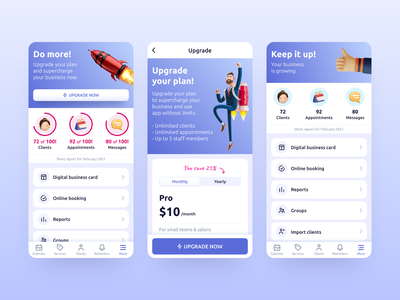 Upgrade to Pro Account ui  ux 3d illustration gradient inspiration interface clean app design app mobile settings payment pricing plan upgrade