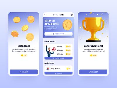 Repito App. Gamification & Bonus Points ui ux illustration crm app 3d clean app app design mobile interface inspiration gamification mobile app