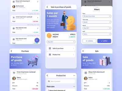 Repito App. Sale & Purchase of Goods ui design business clean ui ux 3d illustration inspiration interface mobile app design crm app