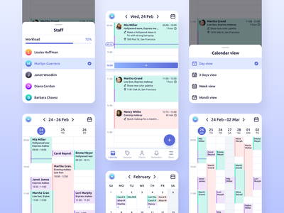 Repito App. Calendar appointment scheduling appointment gradient ux ui inspiration clean app design mobile app interface staff time management crm calendar app calendar