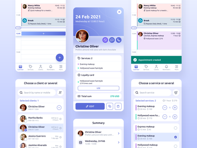 Repito App. Appointment Scheduling & Preview ux ui calendar appointment scheduling appointment gradient app interface inspiration clean mobile app design crm app crm