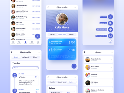 Repito App. Сlient Base discount loyalty card ux ui gradient app interface inspiration mobile app design clean business management clients client base crm app crm