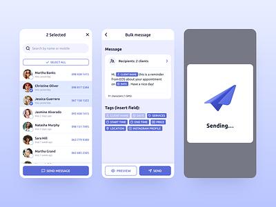 Repito App. Send Bulk Message illustration ux ui gradient inspiration clean app design mobile interface 3d send message crm customers clients