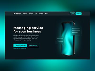Sendiz - Messaging Service iphone gradient inspiration interface clean ux ui glassmorphism glass glow dark ui dark theme dark mode landing page web design website web