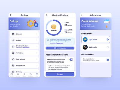 Repito App. Settings message design ux ui 3d crm chart settings gradient inspiration app mobile clean interface app design