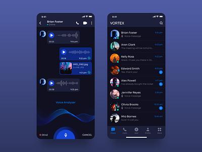 Vortex - a new way of messaging messaging app dark ui dark mode ios adobe xd dark inspiration ui  ux clean gradient interface app design